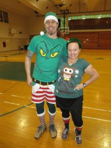 Mr. Cupcake and I all set to get funky at the holiday Zumbathon.